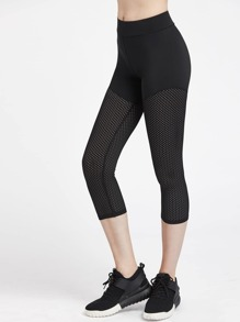 Wide Waistband Crop Eyelet Leggings
