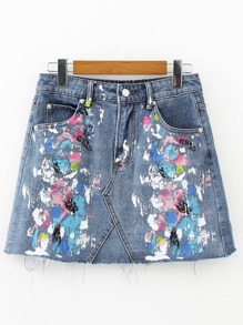 Paint Splash Denim A Line Skirt