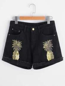Shorts con estampado de piña en denim con vuelta