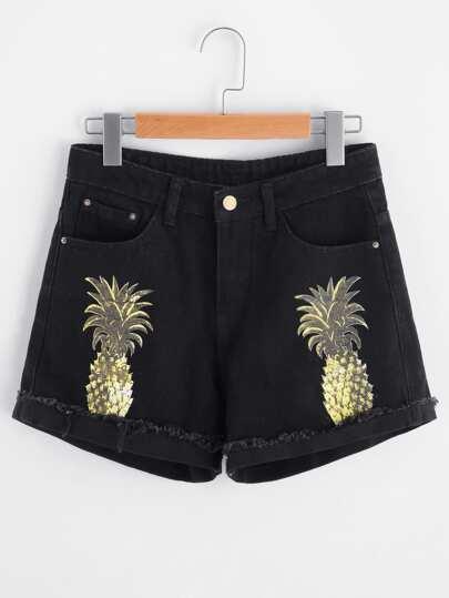 Pineapple Print Cuffed Raw Hem Denim Shorts