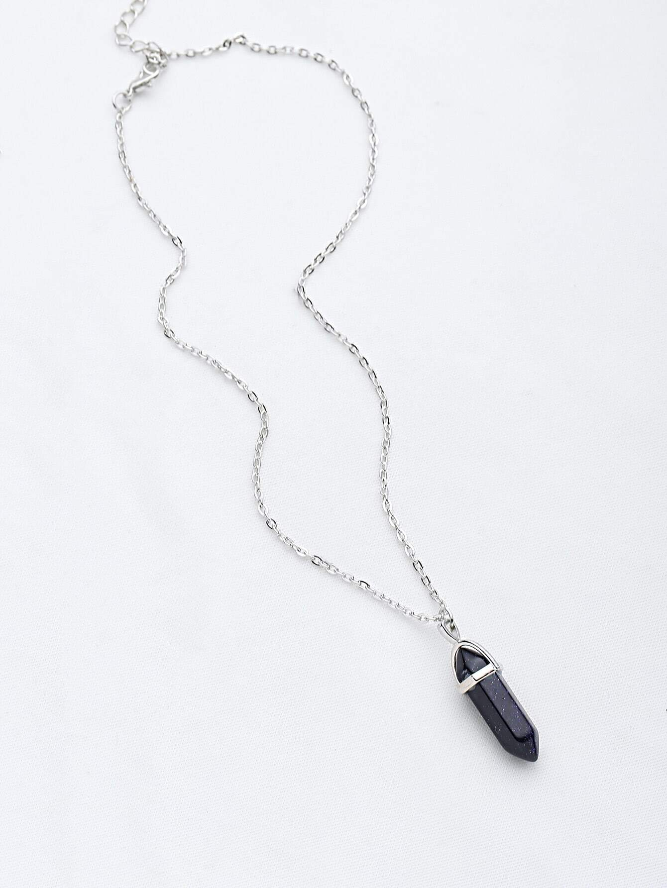 d6d28644c2 Buy Contrast Stone Pendant Chain Necklace ...