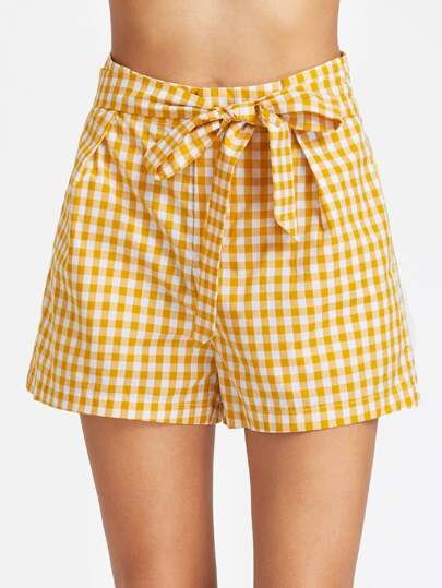 Self Belt Wide Leg Gingham Shorts