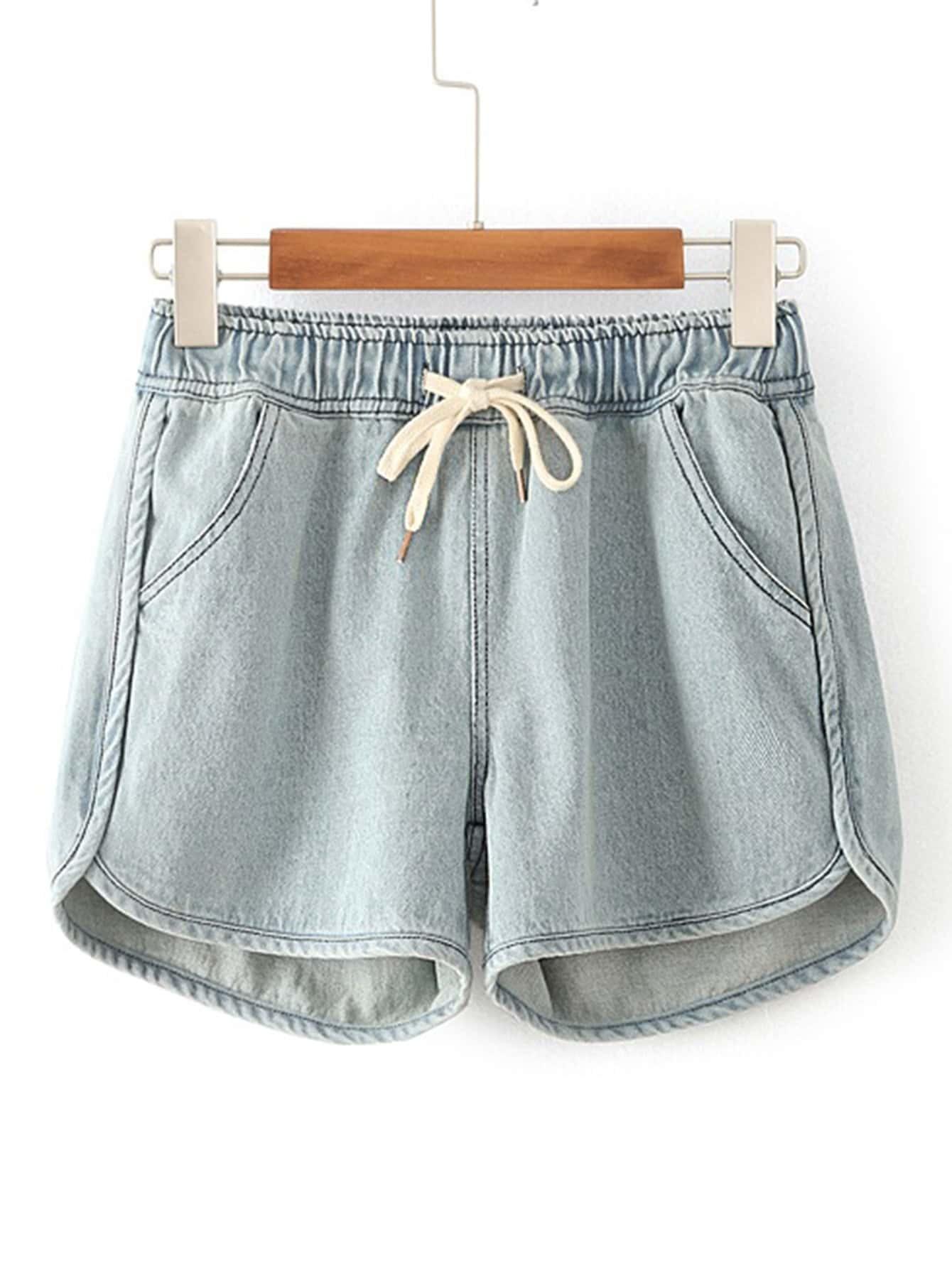 Фото Drawstring Waist Denim Shorts. Купить с доставкой