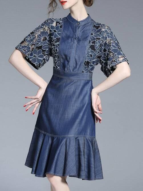 Фото Contrast Lace Sleeve Denim Frill Dress. Купить с доставкой