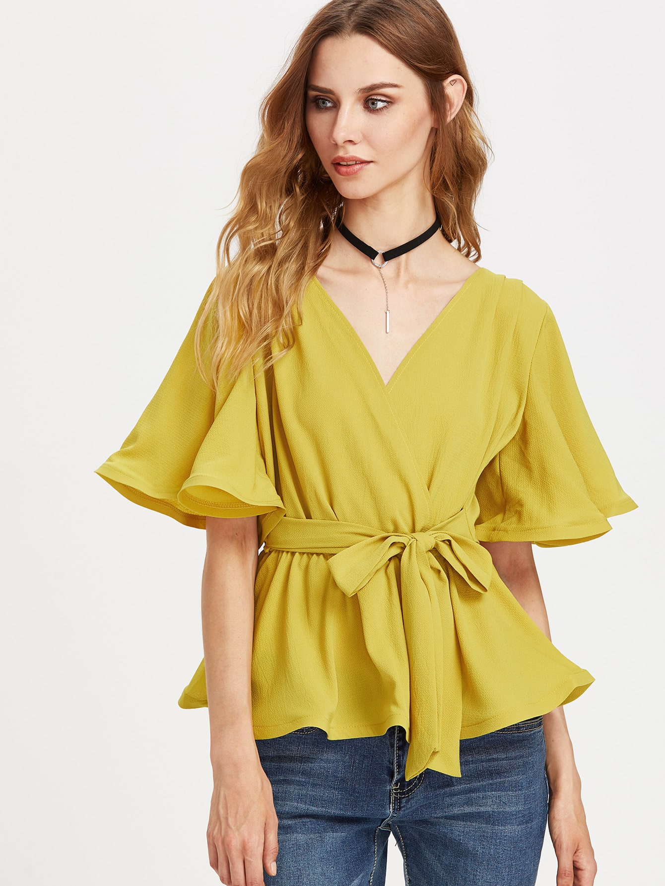 Flutter Sleeve Belted Surplice Wrap Top kris longknife unrelenting