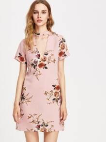 V-Cut Floral Chiffon Dress