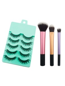 Color Block Brush Set With False Eyelashes