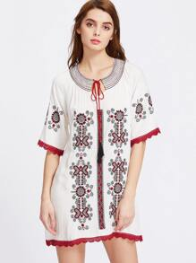 Contrast Lace Tassel Tie Detail Embroidered Dress