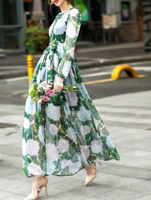 Flowers Print Tie-Waist Maxi Dress