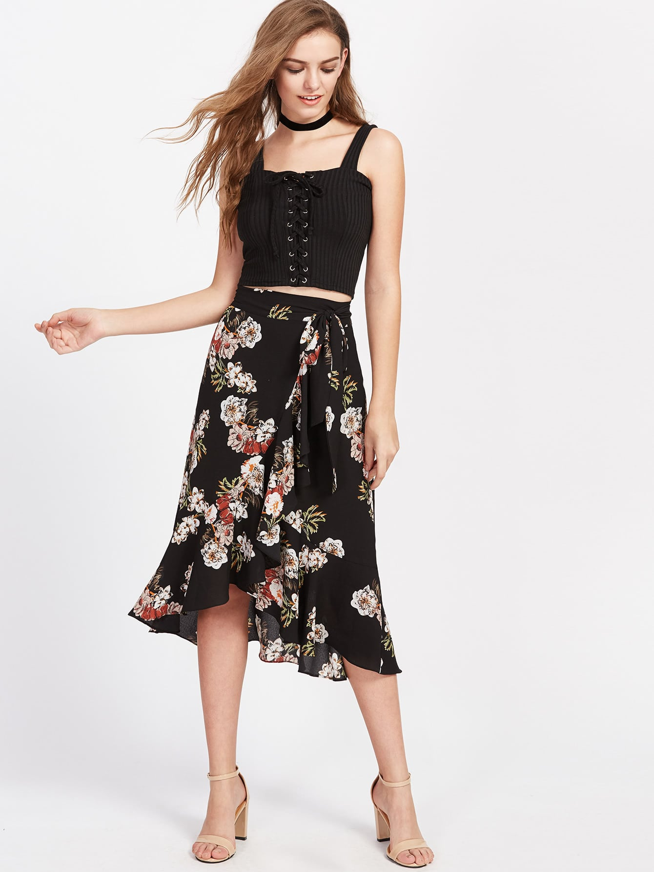 Фото Flower Print Asymmetric Ruffle Wrap Skirt. Купить с доставкой