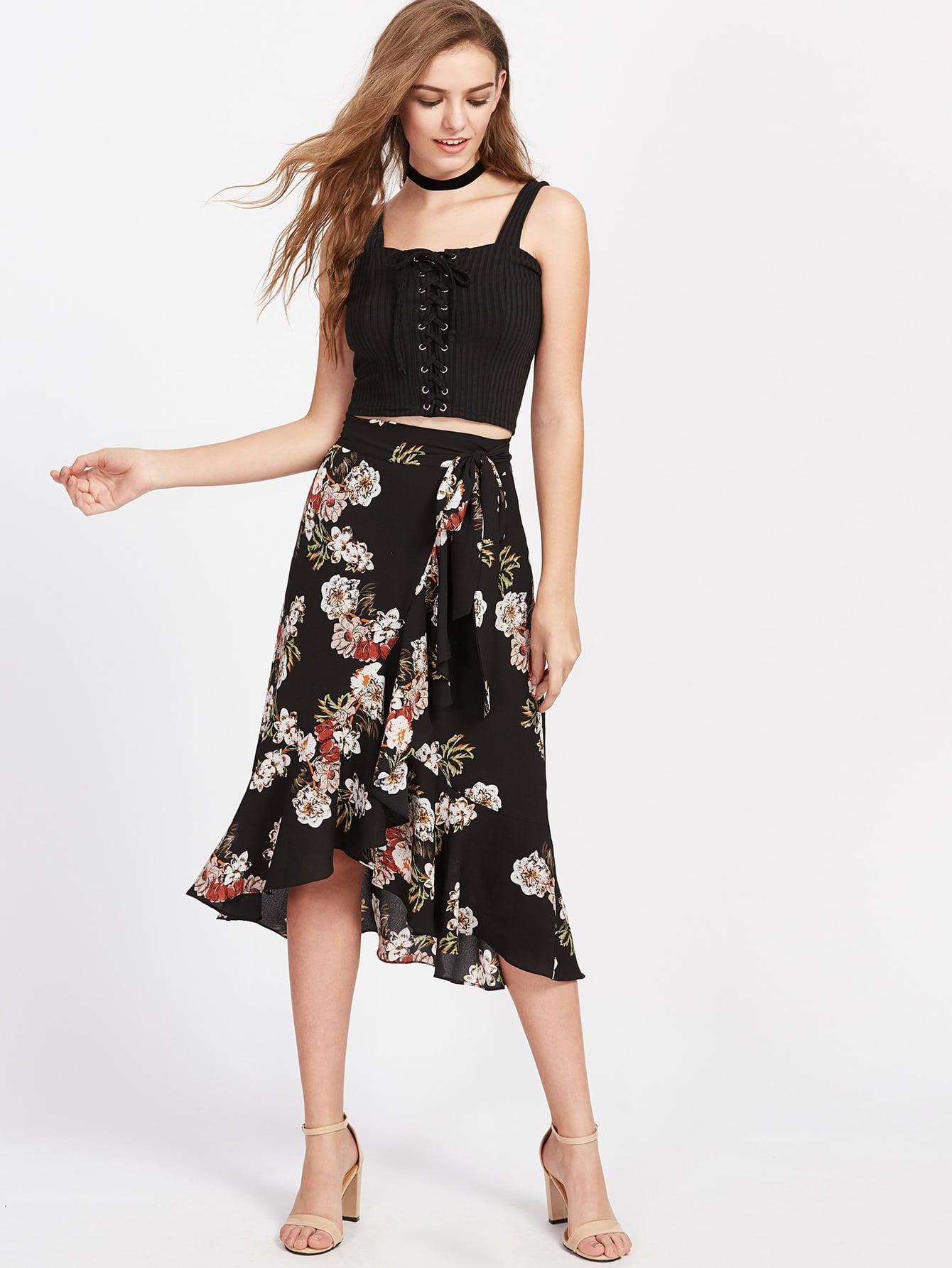 Flower Print Asymmetric Ruffle Wrap Skirt skirt170426703