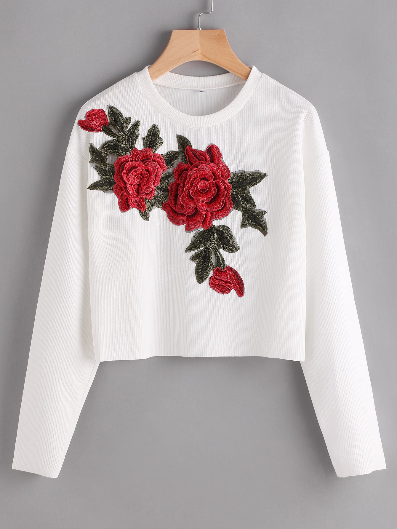 Фото Rose Appliques Ribbed Dropped Shoulders Crop Sweatshirt. Купить с доставкой