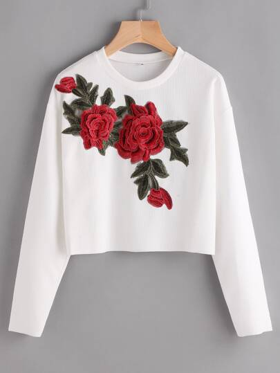 Rose Appliques Ribbed Dropped Shoulders Crop Sweatshirt