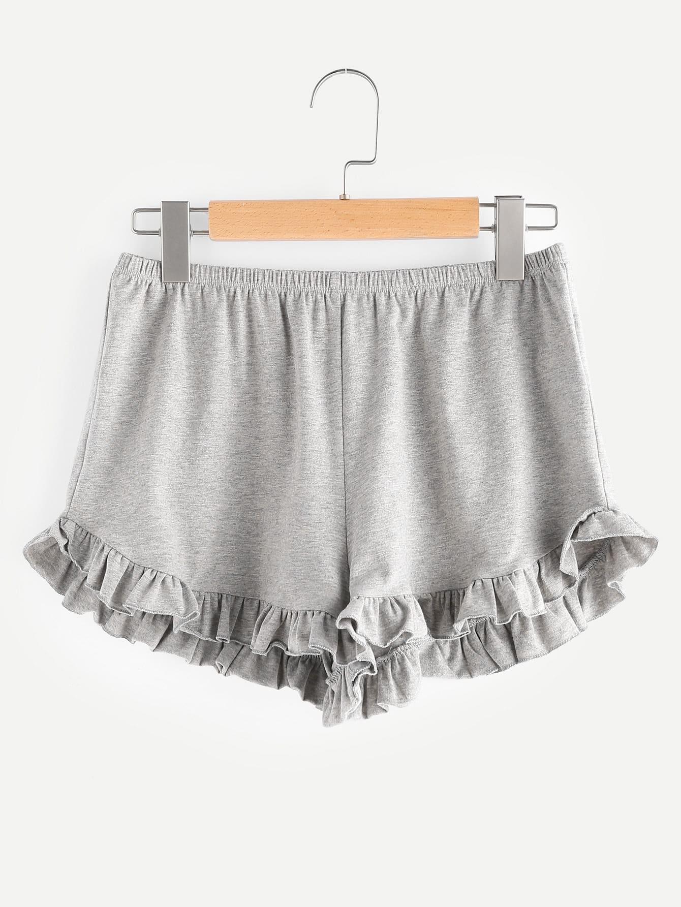 Фото Elasticized Waist Frill Trim Heathered Shorts. Купить с доставкой