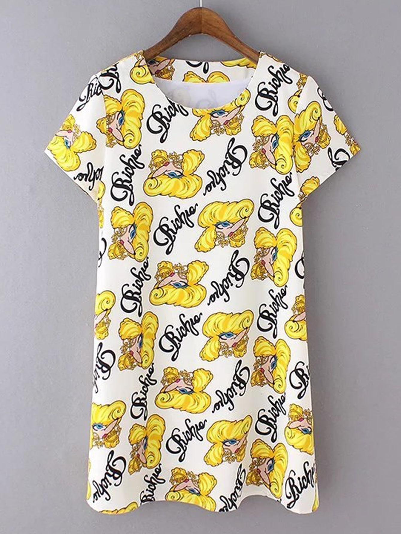 Фото Cartoon Print Tee Dress. Купить с доставкой