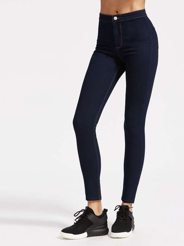 High Rise Skinny Jeans With Top Stitching, Lais