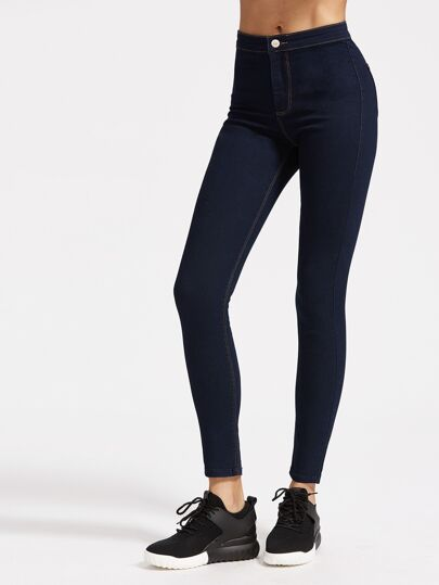 High Rise Skinny Jeans With Top Stitching