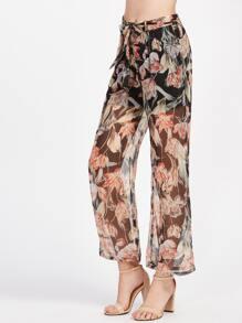 Floral Print Sheer Mesh Overlay Wide Leg Pants With Belt