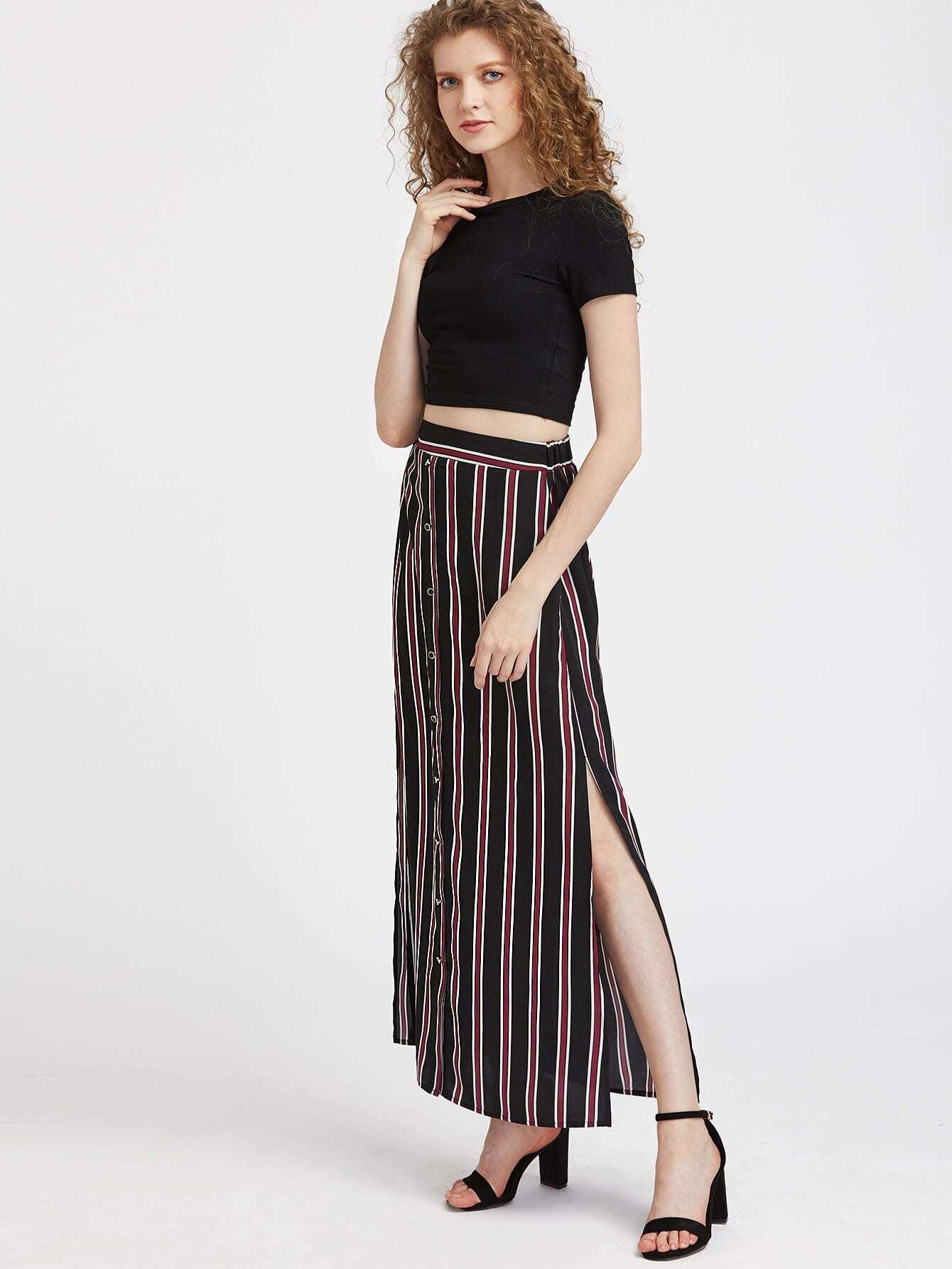 button front side slit striped maxi skirt shein sheinside