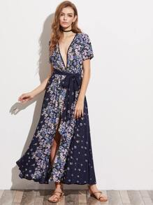 Floral Print Plunging Neck Belted M-Slit Dress