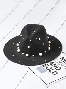 Faux Pearl Embellished Fedora Hat
