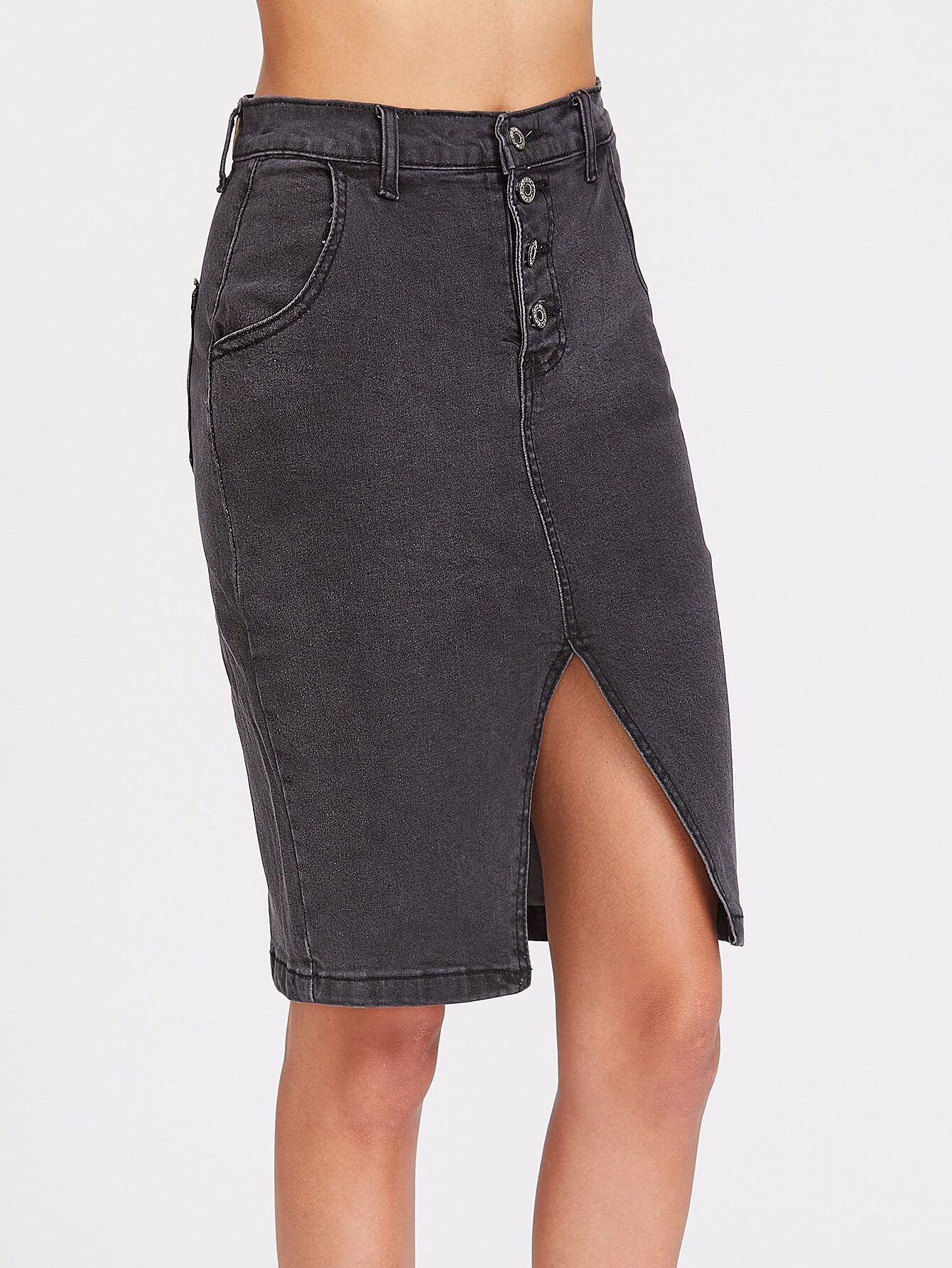 single breasted slit front denim skirt shein sheinside