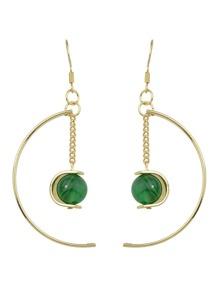Boucle d'oreille avec pendentif en forme de lune avec turquoise couleur vert