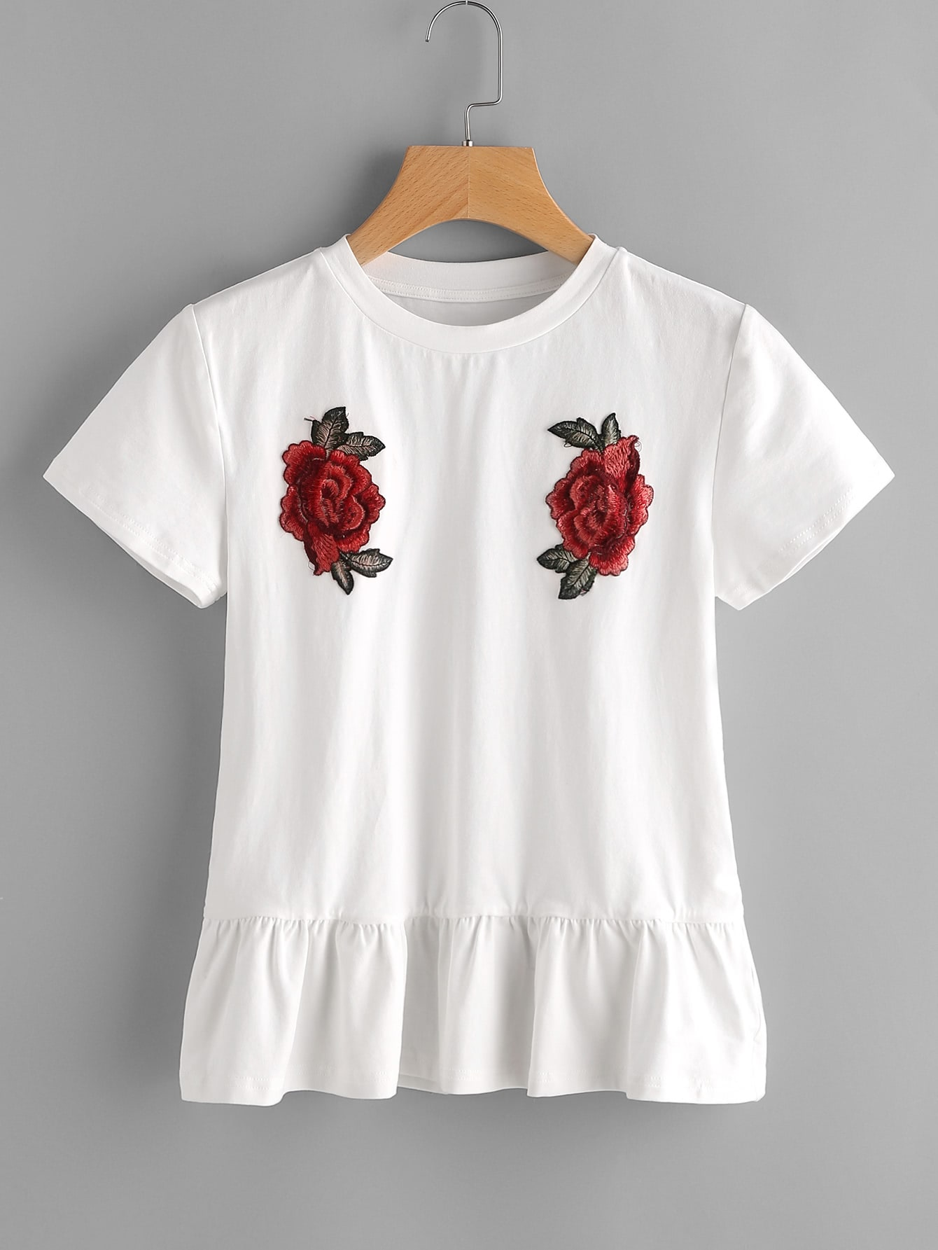 Embroidered Rose Patch Ruffle Hem Tee embroidered sequin patch ruffle hem dress page 6