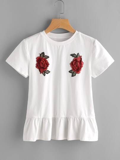 Embroidered Rose Patch Ruffle Hem Tee