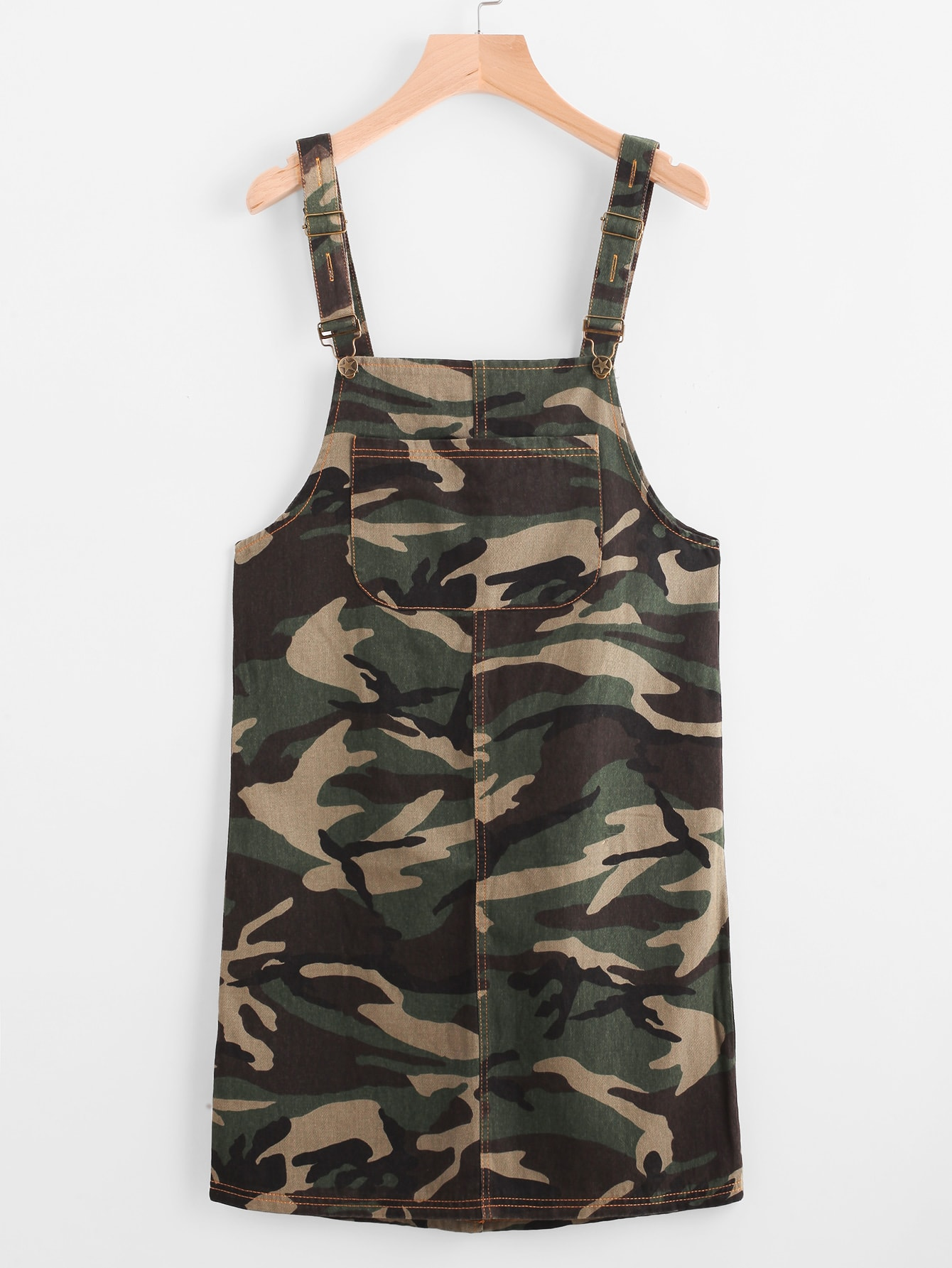 Camouflage Print Overall Dress With Pockets dress170419101
