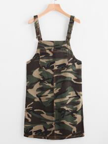Camouflage Print Overall Dress With Pockets