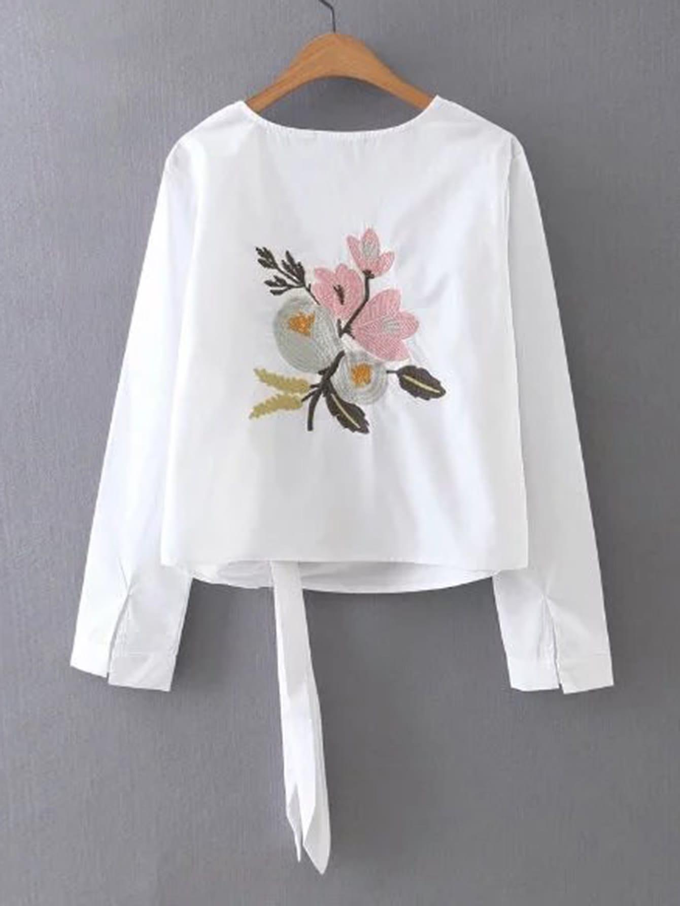 Фото Flower Embroidered Knot Front Top. Купить с доставкой