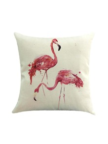 Double Flamingo Print Cushion Cover