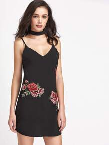 Rose Appliques Self Tie Slip Dress