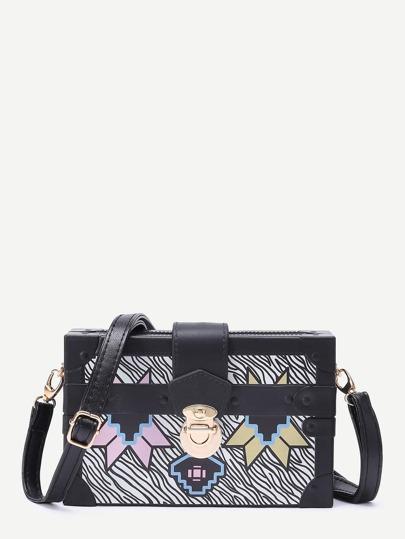 Geometric Print Messenger Bag