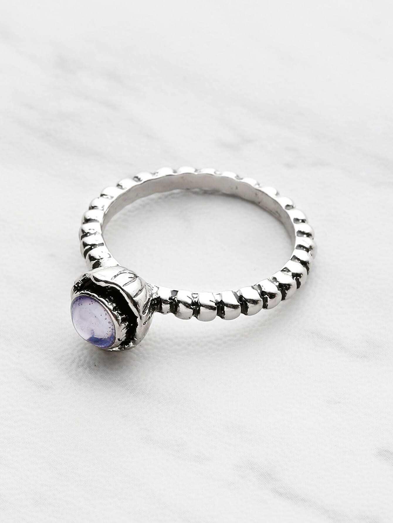 Фото Gemstone Detail Textured Ring. Купить с доставкой