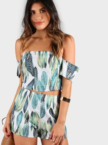 Leaf Print Bardot Crop Top and Short Set WHITE GREEN