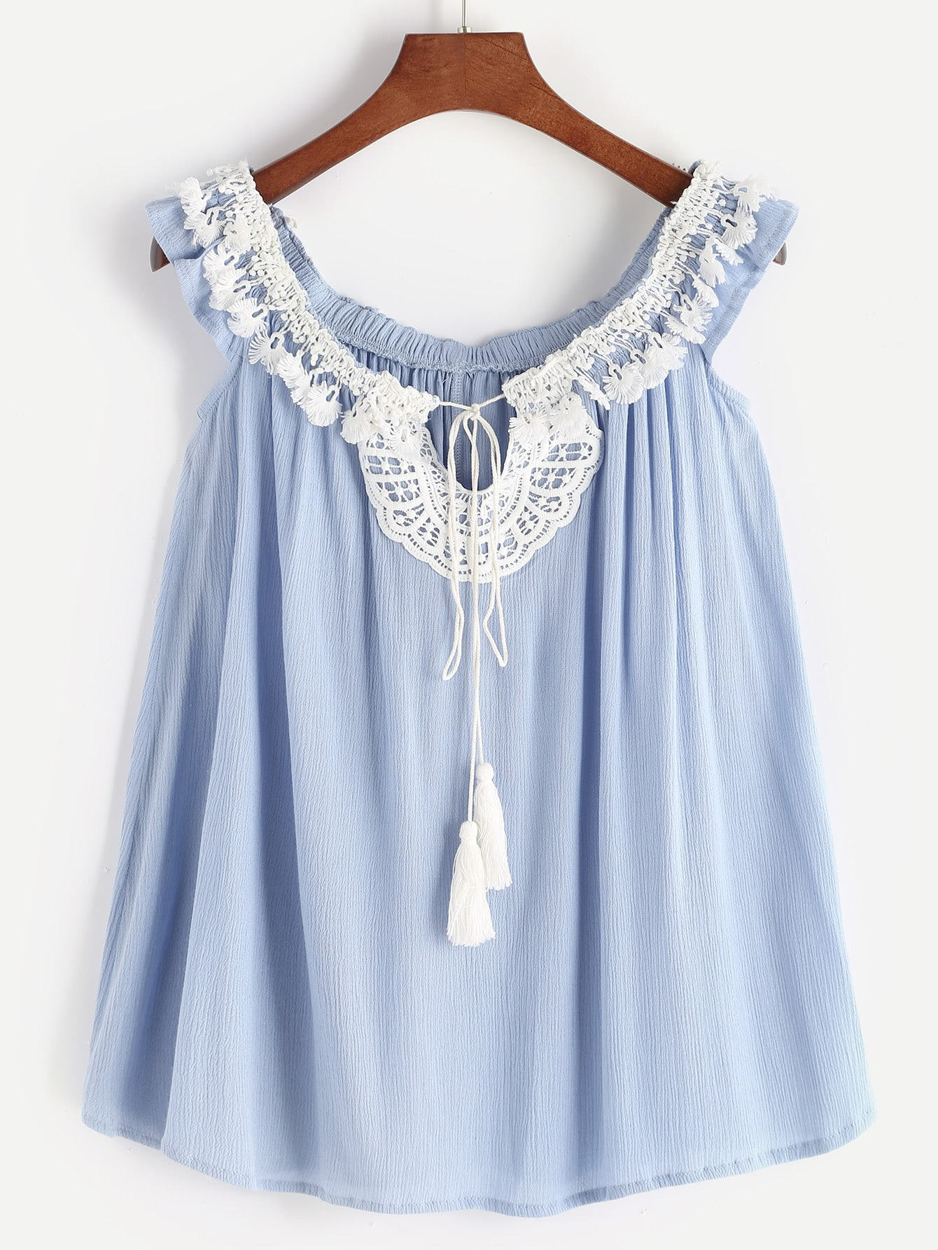 Lace Insert Self Tie Front Sleeveless Top