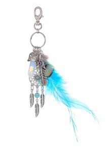 Contrast Feather And Dreamcatcher Design Keychain