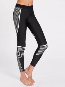 Active Abstract Stripe Print Leggings