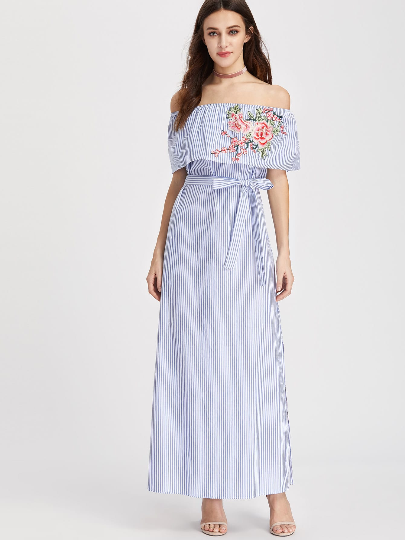 Embroidered Flounce Off Shoulder Belted Striped Dress chic off the shoulder striped floral embroidered midi dress for women