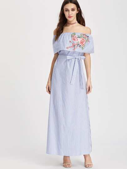 Embroidered Flounce Off Shoulder Belted Striped Dress