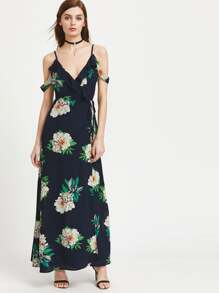 Cold Shoulder Florals Tie Back Frill Dress