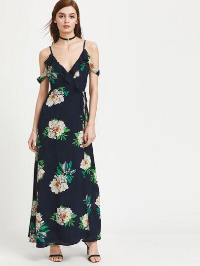 Cold Shoulder Florals Tie Back Frill Dress