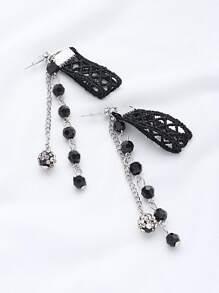 Beaded Fringe Lace Crochet Drop Earrings