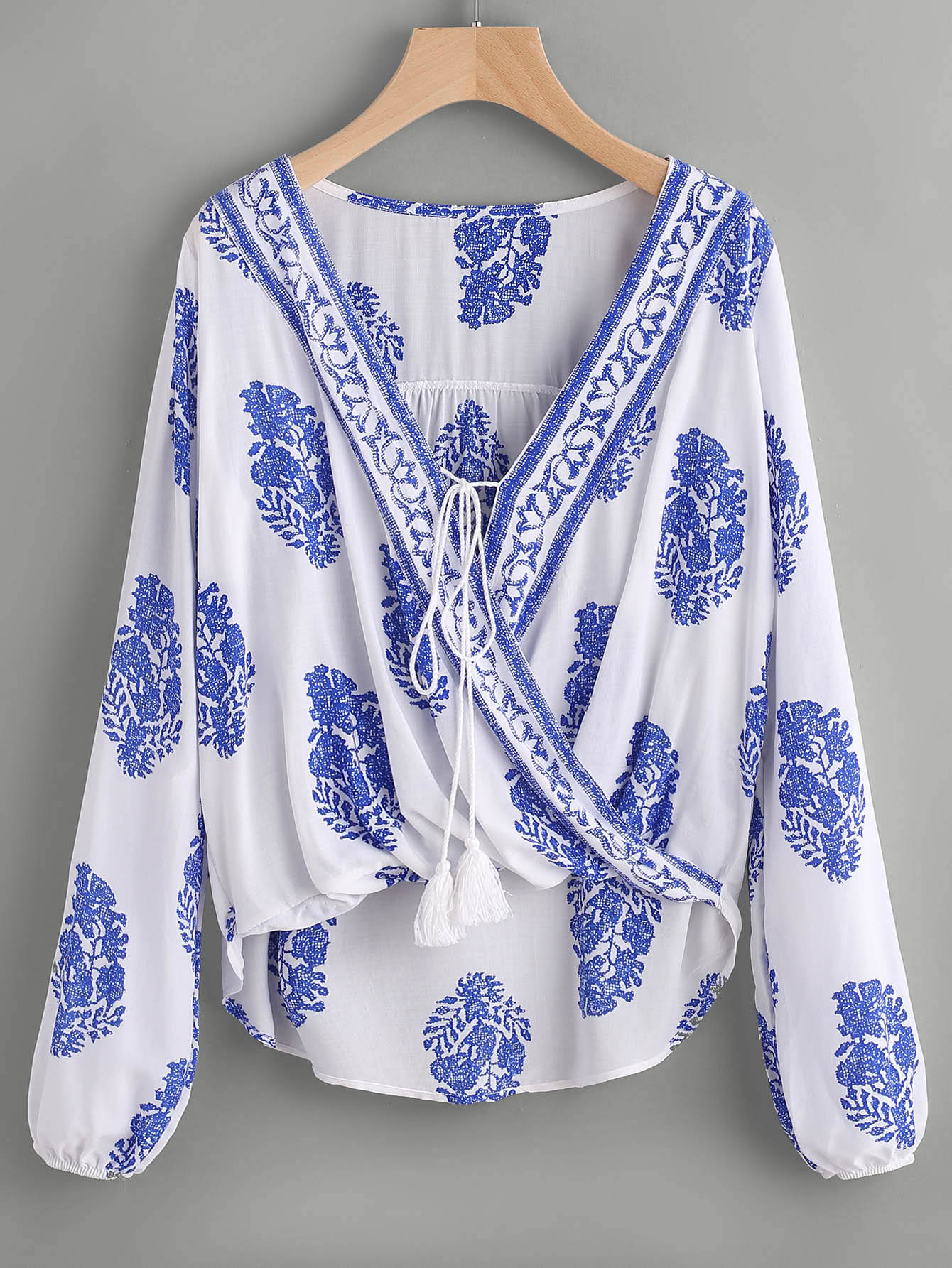Printed Lace Up Front Wrap Top