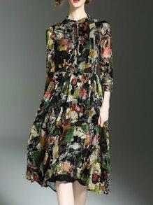 Multicolor Crew Neck Print A-Line Dress