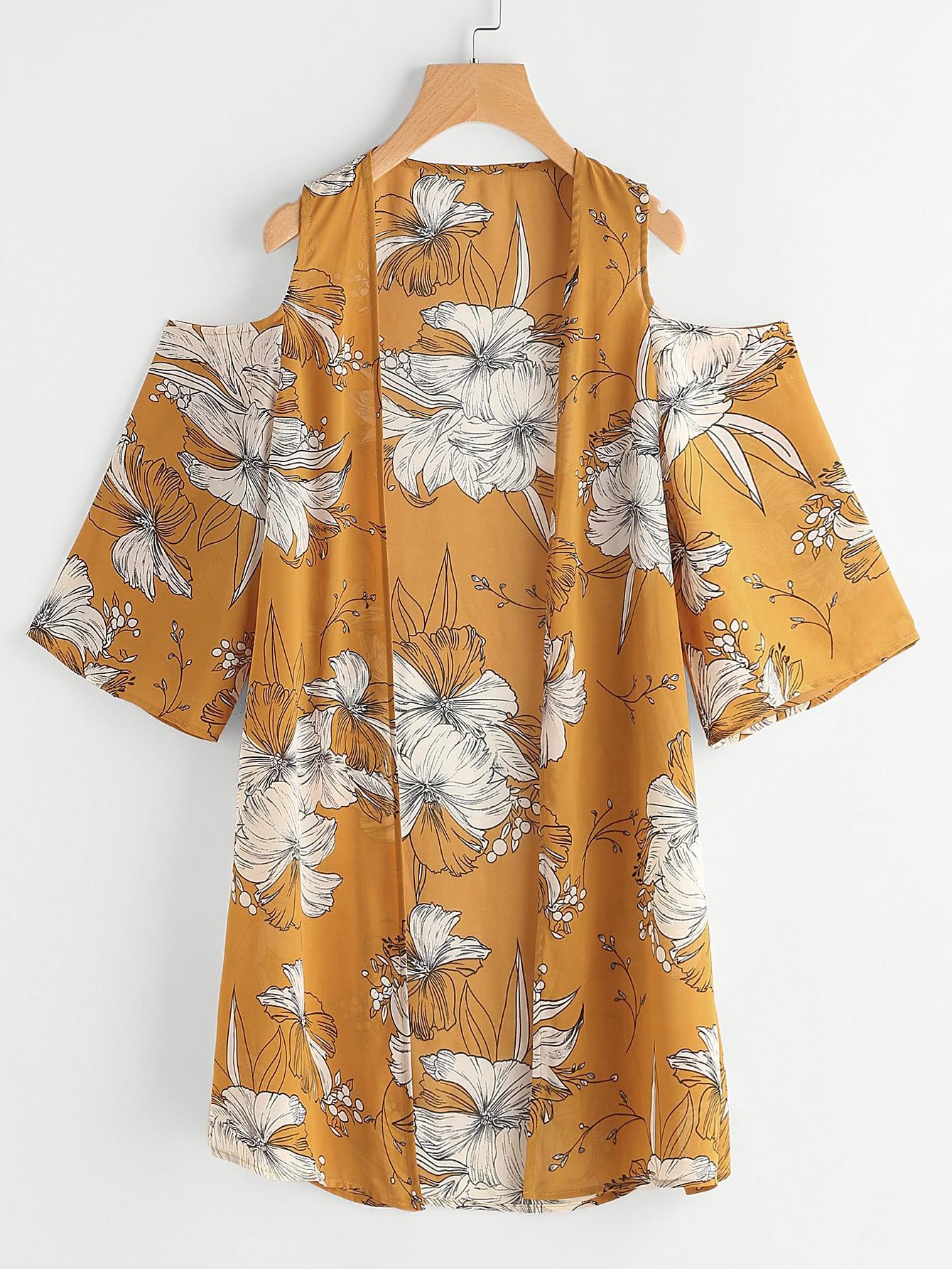 Flower Print Open Shoulder Kimono