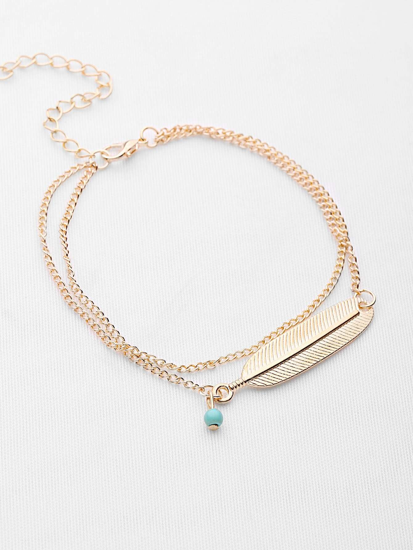 Leaf Shaped Beaded Detail Chain Bangle/Anklet v notch pearl leaf chain detail fluted sleeve dress