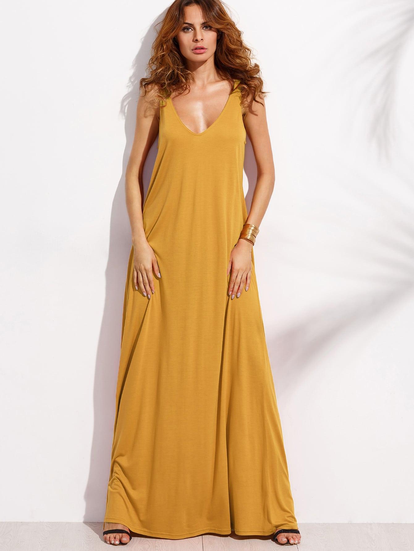 Double V Neck Jersey Tent Dress dress170421454